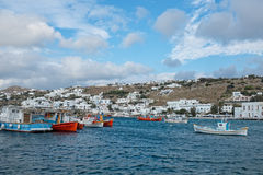 Boats at Mykonos Town Stock Images
