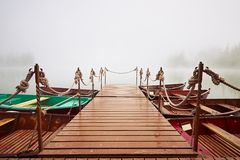 Boats in mysterious fog Royalty Free Stock Images