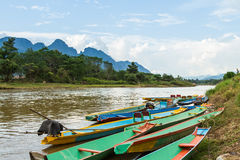 Boats in Nam Song river Stock Photo