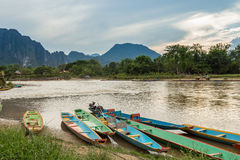 Boats in Nam Song river. At Vang Vieng, Laos Royalty Free Stock Photo