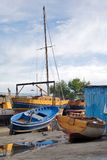 Boats in Naples. Naples, boats in the hide side of mergellina Royalty Free Stock Photo