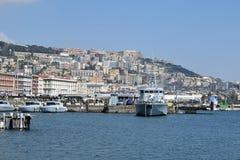 Boats and Naples from Posillipo area of Naples, Italy. Royalty Free Stock Photo