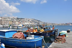 Boats and Naples from Posillipo area of Naples, Italy. Stock Photography