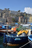 Boats and Naples from Posillipo area of Naples, Italy. Stock Image
