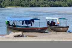 Boats on the Napo river of Ecuador Royalty Free Stock Photo
