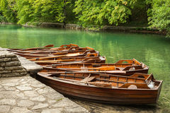 Boats in the national park Plitvice. Croatia Stock Photo