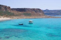 Boats near Balos beach on Crete, Greece Stock Photos