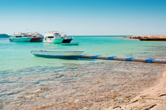 Boats near beach Stock Image