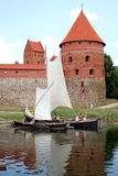 Boats near the castle. Historic scene Royalty Free Stock Images