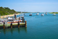 Boats near Chatham Fish Pier stock image
