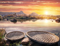Boats near Hampi river Stock Photography