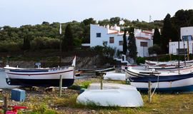 Boats near  home of Dali at  Cadaques. Stock Photos