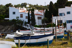 Boats near  home of Dali at Port Lligat Stock Image