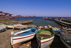 Boats near island in Italy Royalty Free Stock Images