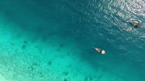 Boats near ocean shore at noon, Zanzibar, aerial. Plenty of boats near ocean shore at noon on a sunny day, Zanzibar, aerial stock video footage