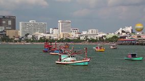 Boats near Pattaya bay, Gulf of Siam, Thailand Royalty Free Stock Photo