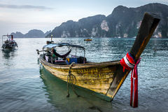 Boats near Phi Phi island. Long-tail boats nea Long beach of Phi Phi Don, Thailand Royalty Free Stock Photo