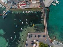 The boats near the pier. Porto Cesario, Puglia, Italy. Drone aerial photo stock images