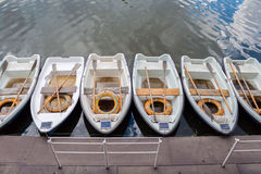 Boats near the pier standing in line Stock Image