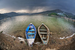 Boats near Pokhara lake Royalty Free Stock Image