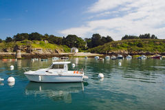 Boats near Sauzon. Royalty Free Stock Images