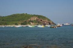 Boats near the tropic island Stock Photography