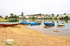 Boats near village Royalty Free Stock Photo