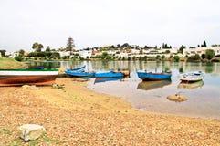 Boats near village Royalty Free Stock Photo