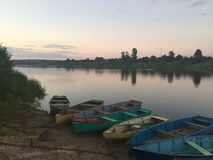 Boats near the Western Dvina river in Belarus stock images