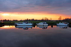 Boats in the Netherlands at sunset Stock Photos