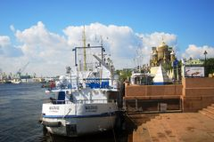 Boats on the Neva river Royalty Free Stock Images