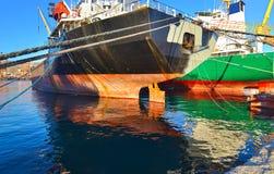 Boats at the new mole of Drapetsona stock photos