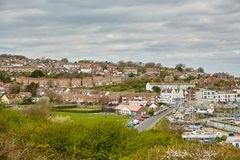 Boats in Newhaven harbour, Sussex , UK. Panoram town and Boats in Newhaven harbour, Sussex , UK Stock Photography
