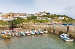 Boats in Newquay harbour North Cornwall England UK Royalty Free Stock Image