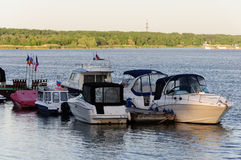 Boats next the moorage Stock Photography