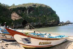 Boats. Ngrenehan beautiful beach located in wonosari, Yogyakarta, Indonesia Stock Photo