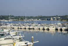 Boats in the Niantic River in Connecticut Stock Images
