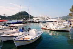 Boats in Nidri harbour, Lefkada, Greece Stock Photography