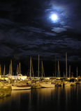 Boats at night. The stillness of the night Stock Photo
