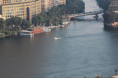 Boats in nile of cairo in egypt Royalty Free Stock Image