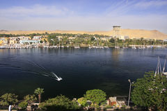 Boats on the Nile river, Aswan. Egypt Royalty Free Stock Photo