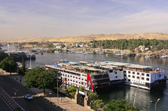 Boats on the Nile river, Aswan. Egypt Stock Photography