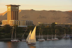 Boats on the Nile river, Aswan. Egypt Stock Photos
