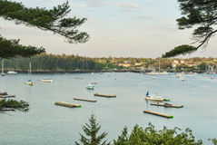 Boats at Northeast Harbor Maine on Somes Sound royalty free stock photo