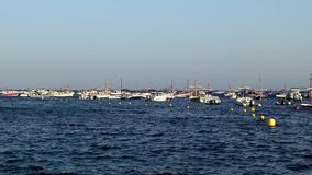 Boats in the ocean en Tamariu small village in Costa Brava, Catalonia,Spain 30 july 2016 Tamariu stock video footage