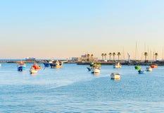Boats in ocean marina, Portugal Royalty Free Stock Photo