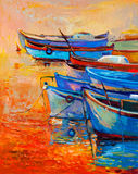 Boats and ocean. Original oil painting of boats and jetty(pier) on canvas.Sunset over ocean.Modern Impressionism royalty free illustration