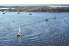 Boats on the ocean during summer. Several Boats in a Swedish Summer setting Royalty Free Stock Photography