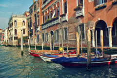 Boats and old buildings on Grand Canal in Venice, Italy. Royalty Free Stock Image
