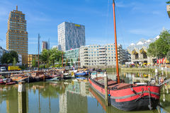 Boats in old harbor Rotterdam, Netherlands Stock Image